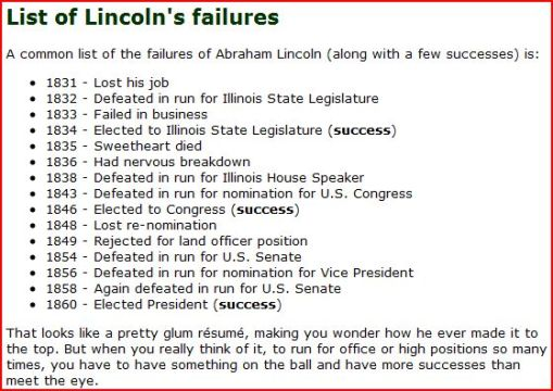 Lincoln's Failures