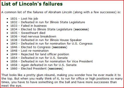 Lincoln's Failures